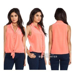 Equipment Mina Tie Front Silk Blouse Tank S Coral
